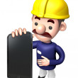 Foto Stock: Staff to promote mobile phone. Work and Job Character Desig