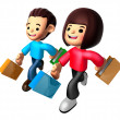 Walking down The boy and girl carrying a Shopping Bag. 3D Family — Zdjęcie stockowe