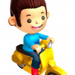 Boys Mascot Driving a motorbike dynamic. 3D Family and Children — Stock Photo