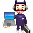 3D Service men Mascot to promote Laptop. Work and Job Character — Stok Fotoğraf #34208167
