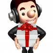 3D Business man Mascot holding a big gift box. Work and Job Char — Stock Photo #34208213