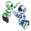 Stock Photo: Blue robot and Green robot gave each other high fives. Create 3D