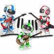 Playing the guitar is a blue robot with red robot and green robo — Stock Photo
