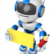 Blue robot Grasp pencil and board. Create 3D Humanoid Robot Se — Stock Photo #34208337