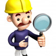 3D Construction site man mascot examine a with a magnifying glas — Stock Photo