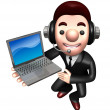 3D Business man Mascot to promote Laptop. Work and Job Character — Lizenzfreies Foto