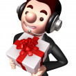 3D Business man Mascot holding a big gift box. Work and Job Char — Stock Photo #34208807