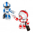 Stock Photo: Blue robot and Red robot face each other point finger. Creat