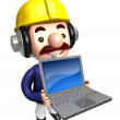 Laptop Construction site man  to promote. Work and Job Character — Zdjęcie stockowe