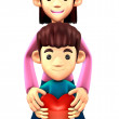 3D Father and Son Mascot. 3D Family and Children Character Desig — Stock Photo #34209163