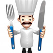 3D Chef Grasp Knife and fork in both hands. Work and Job Chara — Stock Photo #34209175