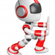 Flexibility as possible a sets of robot Mascot. Create 3D Humano — Stock Photo