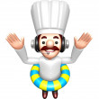 A Swimming Tubes in 3D Chef Character. Work and Job Character De — Stock Photo