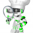 Bad check a Magnifying glass the Blue robot character. Create 3D — Stock Photo