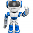 Foto Stock: Blue robot right hand guides and left hand is holding a
