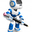 The writing with a pencil a Blue Robot. Create 3D Humanoid Robot — Stockfoto