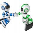 Shake hands Blue robot and Green robot facing each other. Create — Stock Photo