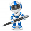 Blue robot Character ballpoint pen a handwriting. Create 3D Huma — Stock Photo
