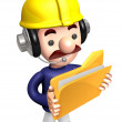 3D construction staff hand Grasp folder. Work and Job Charac — Stock Photo #34209823