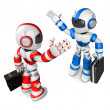 Blue robot and Red robot gave each other high fives. Create 3D H — Stock Photo