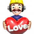 Men holding hearts. Work and Job Character Design Series. — Stock Photo #34209959