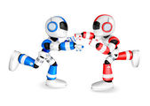 The Blue robots and Red robot boxing matches. Create 3D Humanoid — Stock Photo
