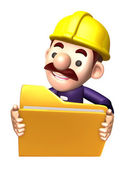 3D construction staff hand Grasp the folder. Work and Job Charac — Stock Photo