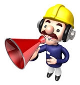 The Construction site man in to promote Sold as a loudspeaker. W — 图库照片