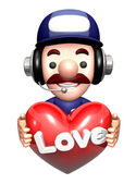 The 3D Service man Character holding hearts. Work and Job Charac — Stock Photo