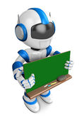 Blue robot Character is holding a blackboard with both hands. Cr — Stock Photo