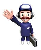 3d 服务人吉祥物表明方向。工作和就业的甜心 — 图库照片