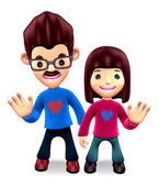 3D Father and daughter Mascot. 3D Family and Children Character — Stock Photo
