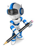 The writing with a pencil a Blue Robot. Create 3D Humanoid Robot — Stock Photo
