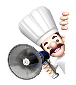3D Chef Mascot the hand is holding a loudspeaker. Work and Job C — Stock Photo