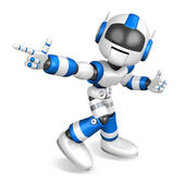 Blue robot character Pointing toward the front. Create 3D Humano — Stock Photo