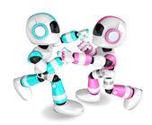 Los robots rosa y azul cielo robot boxeo acerca de los partidos. crear 3d hum — Foto de Stock