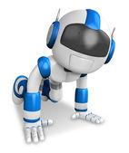 The blue robot hit the dirt. Create 3D Humanoid Robot Series. — Stock Photo