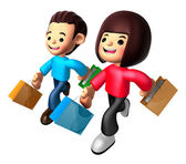 Walking down The boy and girl carrying a Shopping Bag. 3D Family — Stock Photo