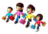 Walking down The Family carrying a Shopping Bag. 3D Family and C — Stock Photo