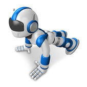 The Blue Robot Character is push-up. Create 3D Humanoid Robot Se — Stock Photo