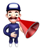 3D Service man Mascot the hand is holding a loudspeaker. Work an — Stock Photo