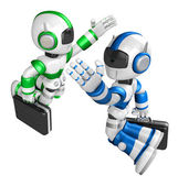 Blue robot and Green robot gave each other high fives. Create 3D — Stock Photo