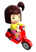 Girls Mascot Driving a motorbike dynamic. 3D Family and Children — Stock Photo