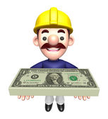 Construction Workers lift up the Dollar Bundle. Work and Job Cha — Stock Photo