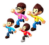 Girls character on Running. 3D Family and Children Character Des — Stock Photo