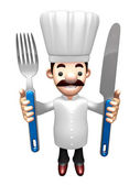 3D Chef Grasp a Knife and fork in both hands. Work and Job Chara — Stock Photo
