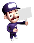 3D Service man mascot holding a signpost. Work and Job Character — Stock Photo