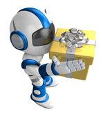 Blue robot holding a big gift running. Create 3D Humanoid Robot — Stock Photo