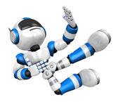 Mavi robot üzerinde başladı. 3d insansı robot serisi oluşturun. — Stok fotoğraf