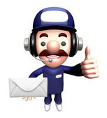 3D Service man Mascot holding a large letter. Work and Job Chara — Stock Photo